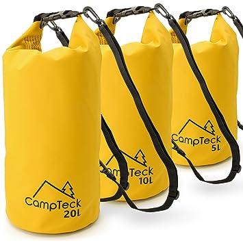 CampTeck 5L, 10L y 20L Bolsas Estancas Bolsa Seco Impermeable Flotante para Acampar, Rafting, Pesca, Canotaje, Kayak, Snowboard, Natación, Buceo, etc. ...