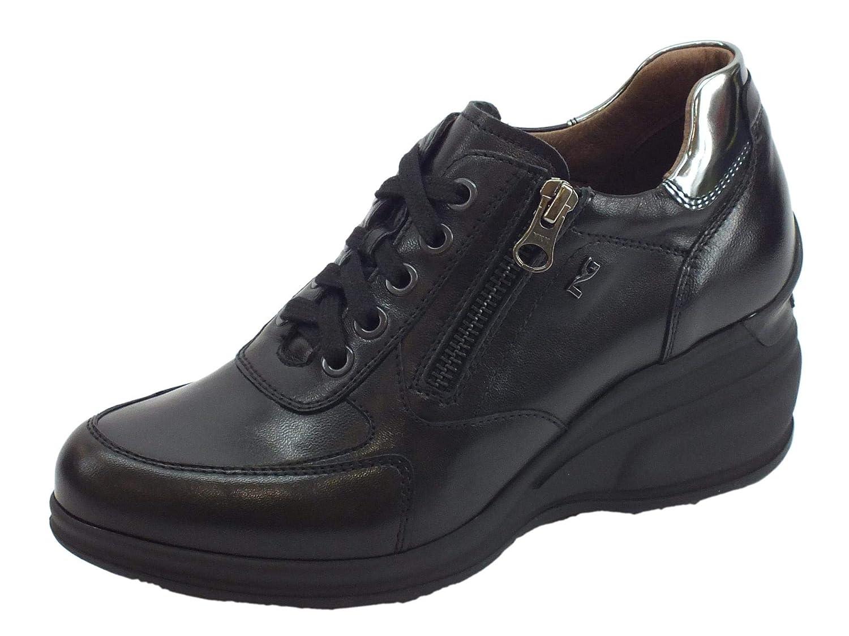 Nero Giardini scarpe da ginnastica Alta Donna Pelle Pelle Pelle Laminata Nera d10bc5