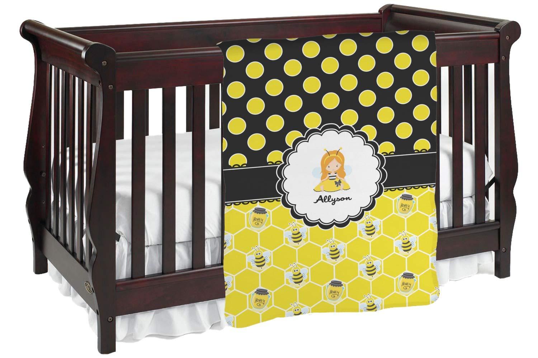 ハニカム、Bees &ポルカドットBaby Blanket ( Personalized ) Baby Blanket ブラック mi-baby-blanket-fb+200680 両面  B01KIOQ3HQ