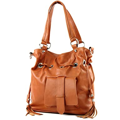 modamoda de - ital. Ledertasche Damenhandtasche Schultertasche Damentasche Nappaleder DS26, Präzise Farbe:Camel modamoda de - Made in Italy