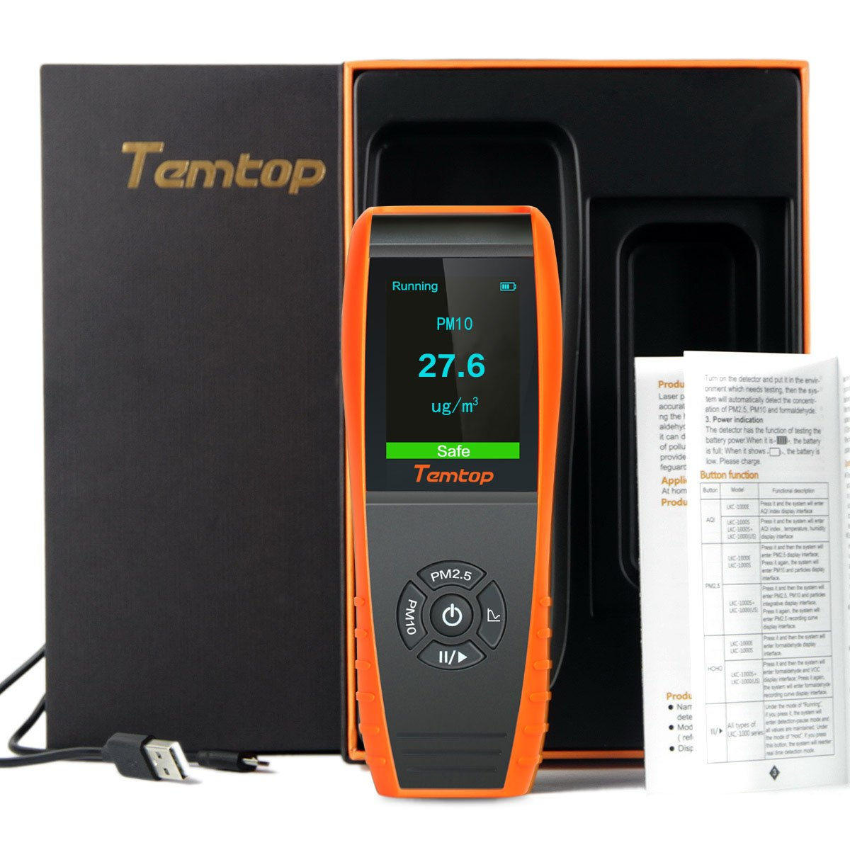 Temtop P600 Air Quality Laser Particle Detector Professional Meter Accurate Testing for PM2.5//PM10 TFT Color LCD Display Elitech