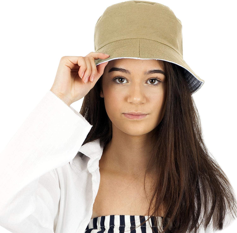de algod/ón para Mujer Sombrero de Sol Reversible para Mujer TOSKATOK/® UPF 50 2 Sombreros en 1