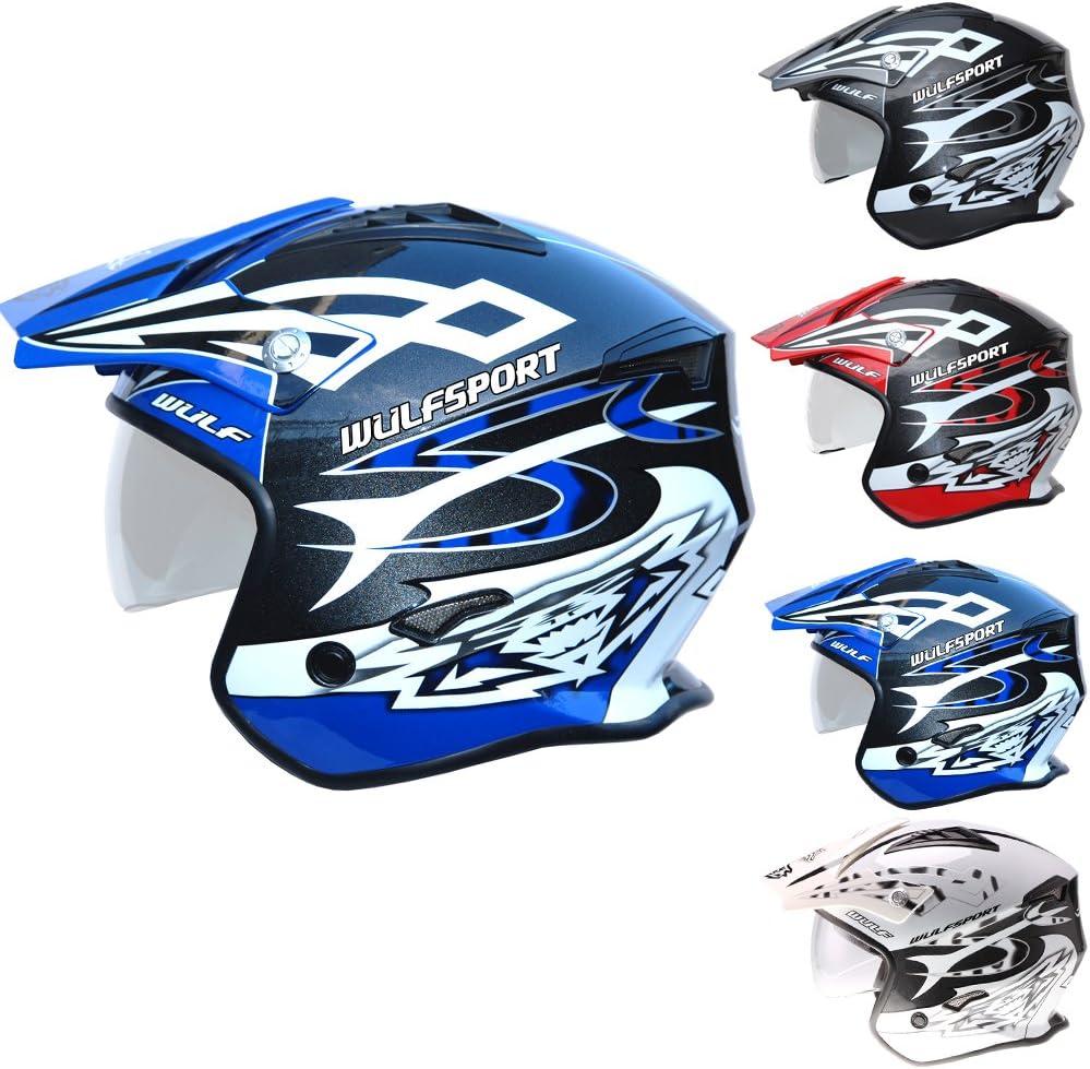 55-56cm Wulfsport Adult Vista Trials Motocross Helmet Motorbike Motorcycle Open Face Helmet With Visor Black S