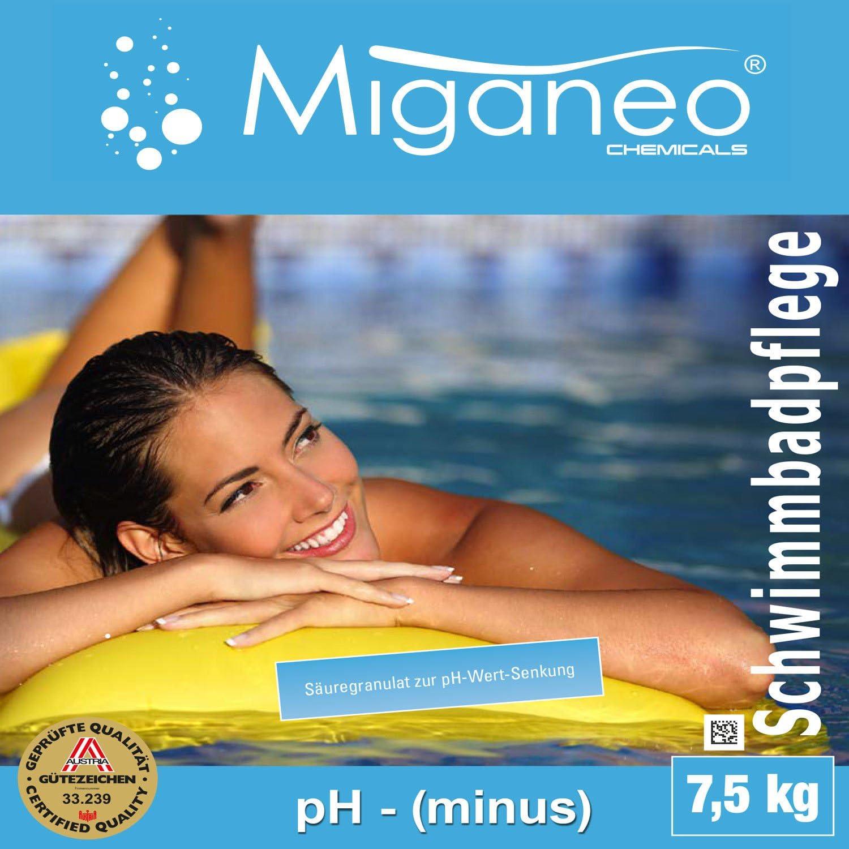 Miganeo/® Ph Minus Senker Granulat Wasser-Pflege Wert f/ür Pool Schwimmbad Teich gegen Algen 1,5 Kg