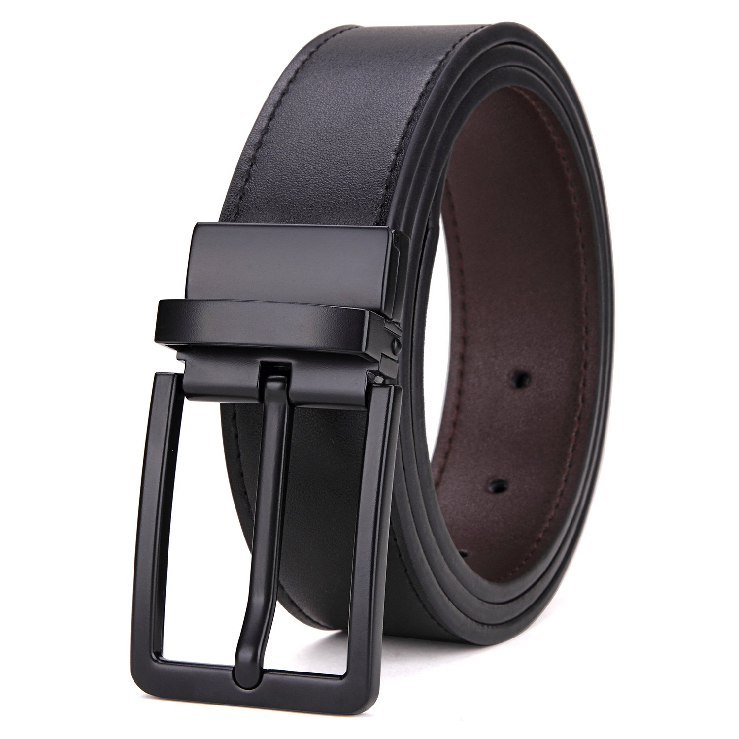 Matasuha Men's Dress Leather Belt Reversible Rotated Buckle Black, 35 36 Waist
