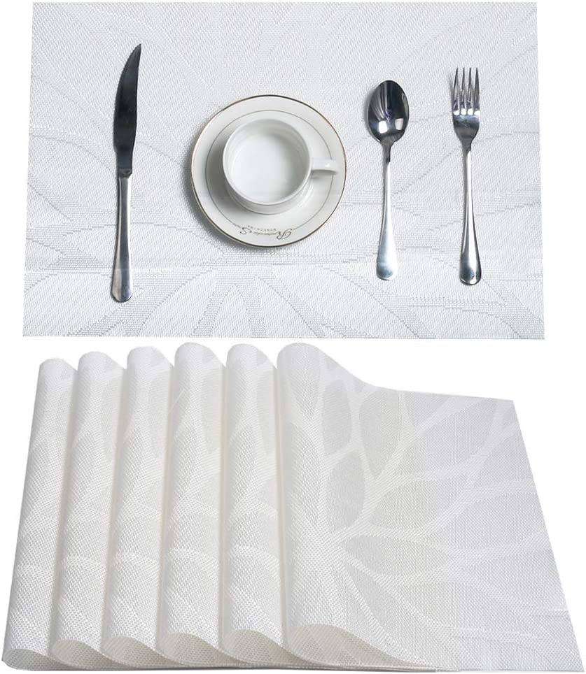 HEBE Placemats Set of 6, Non-Slip Washable Place Mats,Heat Resistant Kitchen Tablemats for Dining Table Dinner Table (White): Home & Kitchen