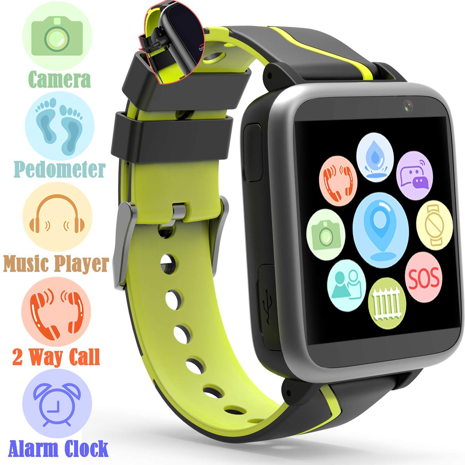 Jesam Kids Music Player Smart Watch - Smart Watch with Mp3 FM Player Watch [with 1GB Micro SD Card] and Camera Flashlight SIM Slot Phone Call Voice Chat for Students Age 4-12 (Black&Yellow) by Jesam (Image #1)