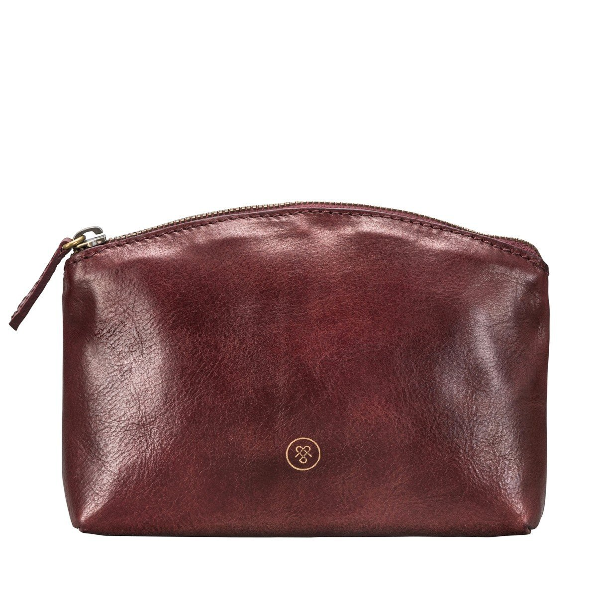 Maxwell Scott Luxury Handcrafted Italian Leather Wine Make Up Bag / Cosmetic Case (The Chia)