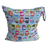 Babies Infants Colorful Owl Pattern Waterproof Reusable Washable Zipper Baby Cloth Diaper Nappy Bag Storage Carrier Blue