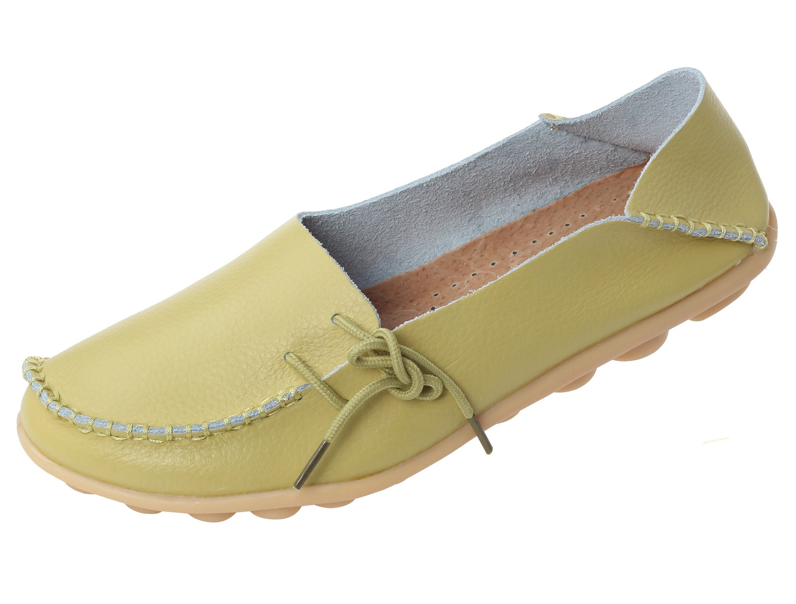 Mordenmiss Women's Casual Solid Color Moccasins Leather Loafer Shoes 42 Style 1-Apple Green
