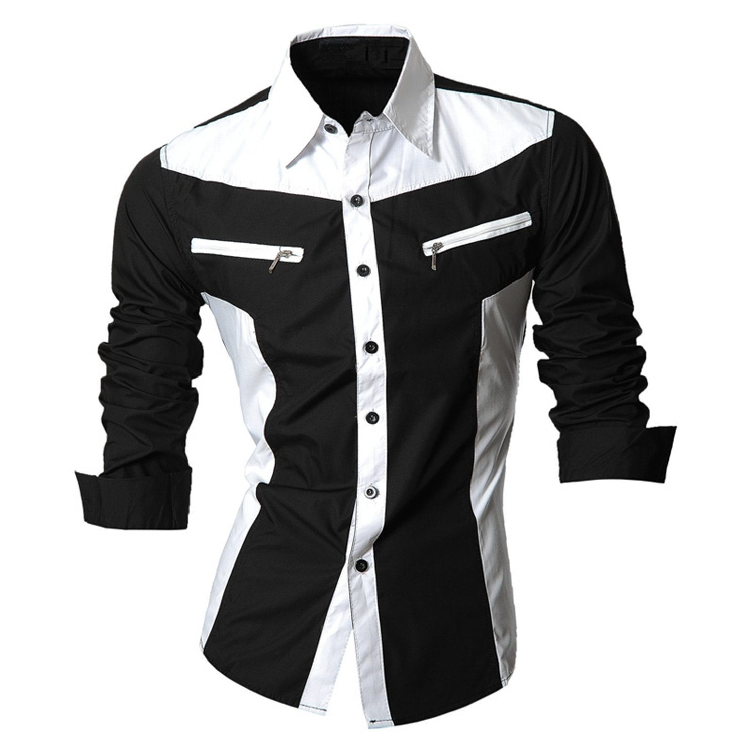 SDHEIJKY New Spring Men Casual Jeans Long Sleeve Casual Slim Fit Shirts