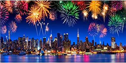 Wofawofa Cityscape Night View Backdrop 10X8FT Vinyl Fireworks Backdrops Seaside Small Town Scene Romantic Bridal Shower Wedding Photography Background for Happy Valentines Day Photo Studio Prop EB220