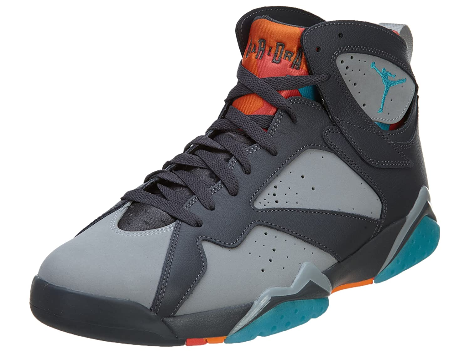 Jordan Nike Mens Air 7 Retro Barcelona Dark Grey Turquoise Blue Wolf Grey-Total Orange Leather Size 13