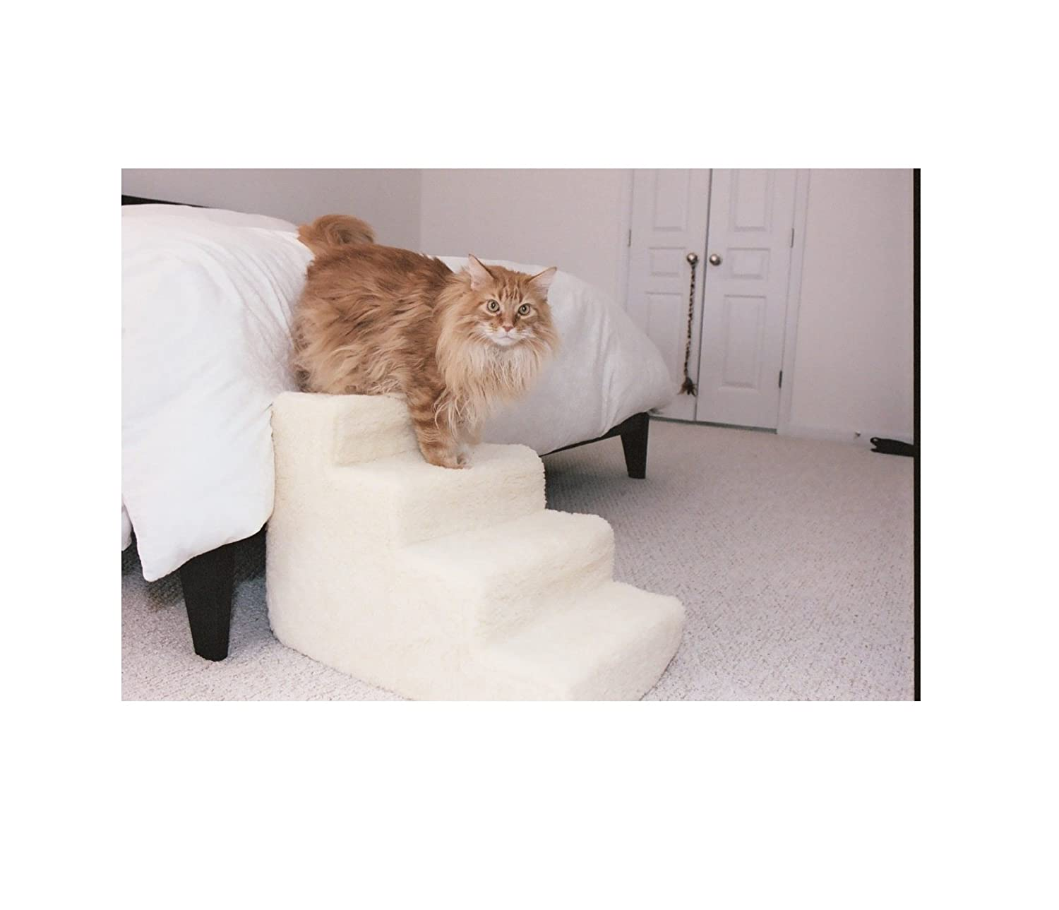 Pet Stairs Petstairz 4 Step High Density Foam Pet Step and Pet Stair with Beige Removable and Washable High Curly Pile Shearling Cover for Pets up to 50 Lbs.