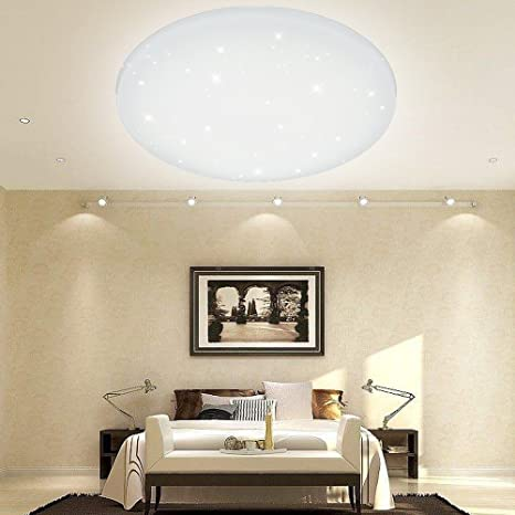 Vgo® Led techo redonda techo lámpara Starlight efecto Beau salón lámpara [clase energética A + +] (50W Regulable)