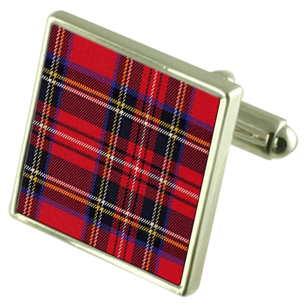 Tartan Royal Stewart Sterling Silver Cufflinks Engraved Box