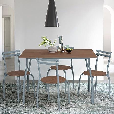 Innovareds - Set da pranzo con tavolo e 4 sedie, Set da cucina in noce