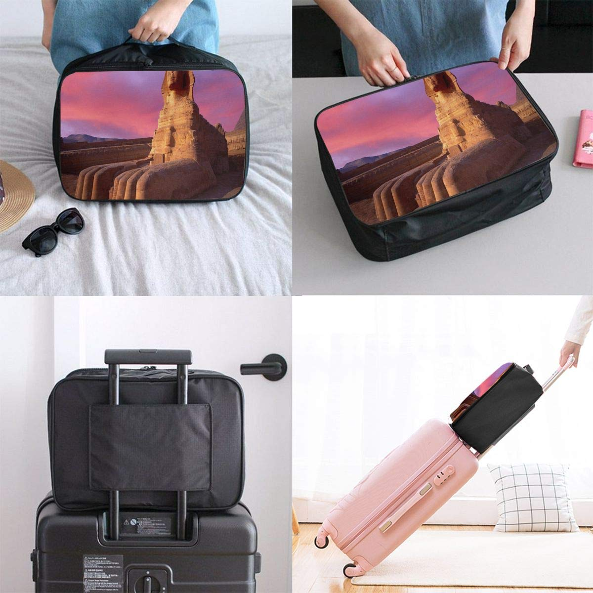 Travel Bags Sparkle Glitter Heart Tunnel Portable Duffel Trolley Handle Luggage Bag