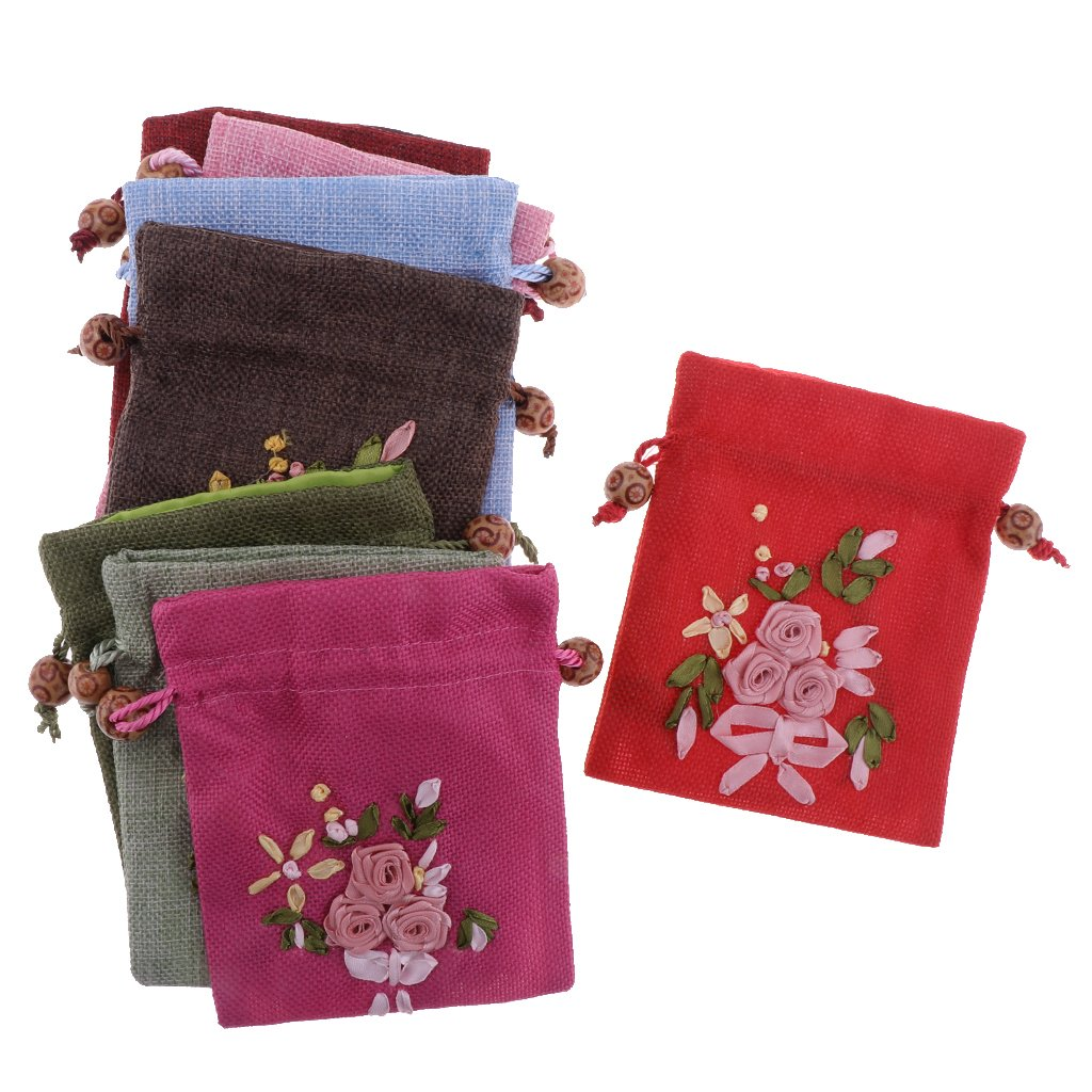 MagiDeal 8pcs Chinese Embroidery Wedding Jewelry Coin Pouch Drawstring Gift Bag Sachet Candy Travel Purse