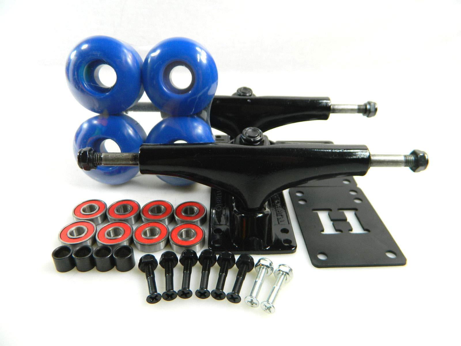 Blue Turbo 5.25 Blk Skateboard Trucks + 52Mm Color Wheels + ABEC 7 Bearings Riser Pad