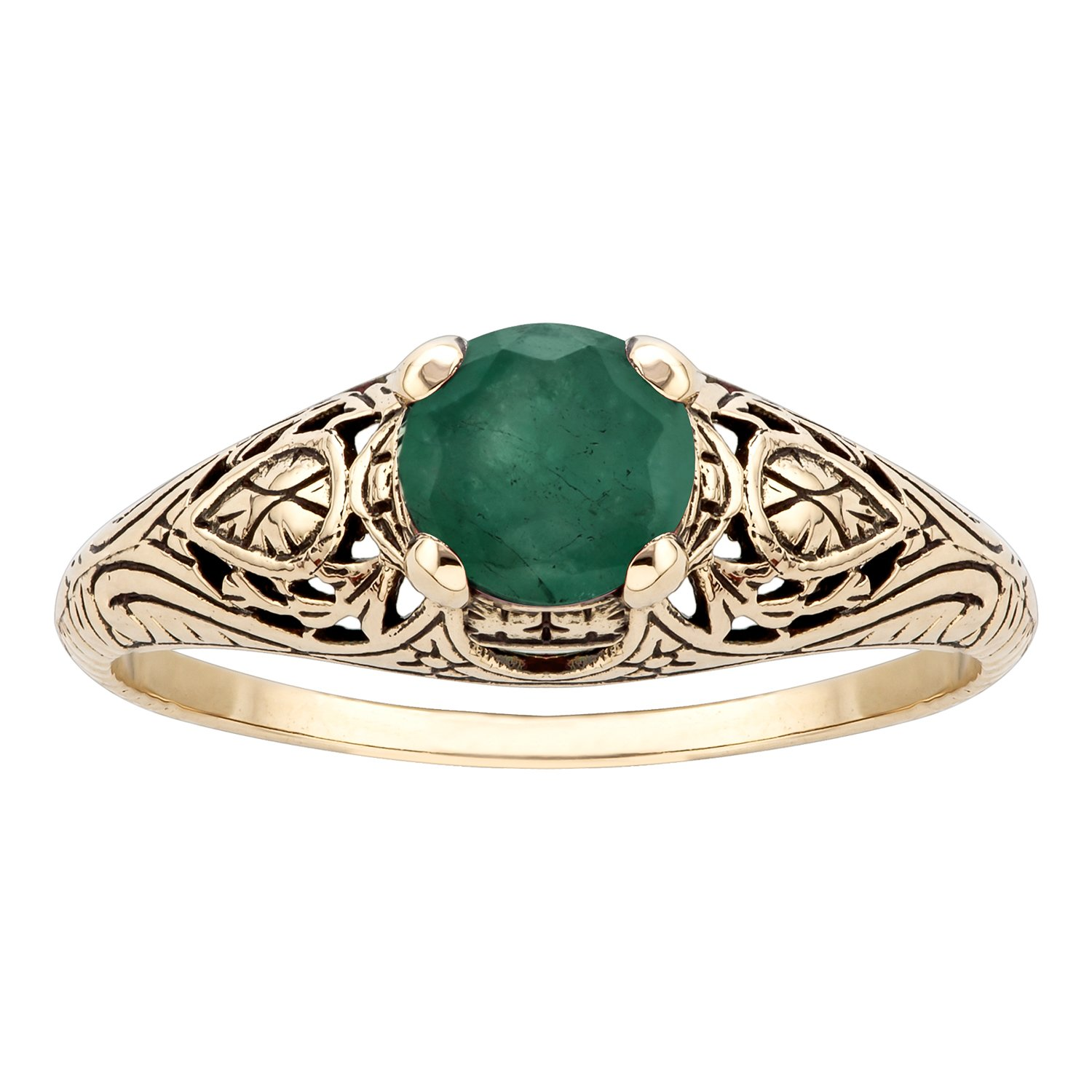 10k Yellow Gold Vintage Style Genuine Round Emerald Scroll Ring by Instagems