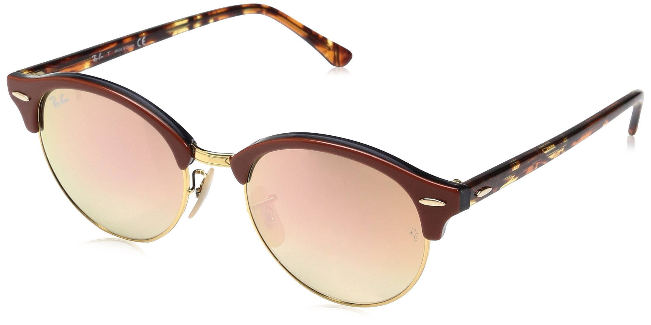 Ray-Ban Clubround Round Sunglasses, Top Brown Trasparent Grey, 51 mm