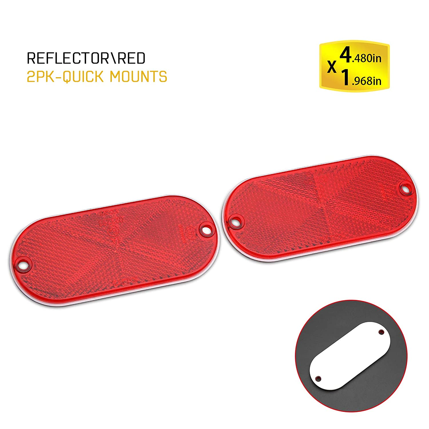 BSK 4.5'' White Stick-On Oval Reflectors, 2 Pack