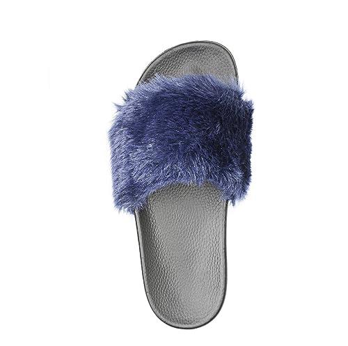 e67abaf7c0d64 Adorllya Womens Slippers, Cute Fuzzy FILP Flops Slides Comfortable Fur  Slippers for Women
