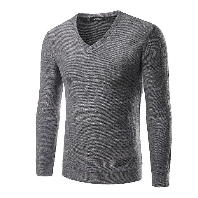 COCO clothing Otoño Invierno Cuello Pico Polo Shirt Hombre Suéter ...