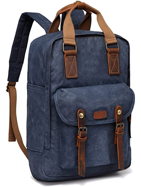 Vaschy Vintage Waxed Canvas Backpack Anti-Theft Campus Book-Bag Outdoor  Recreation fits 15.6 inch Laptop (53-Blue)  Amazon.co.uk  Luggage b397f603979ee