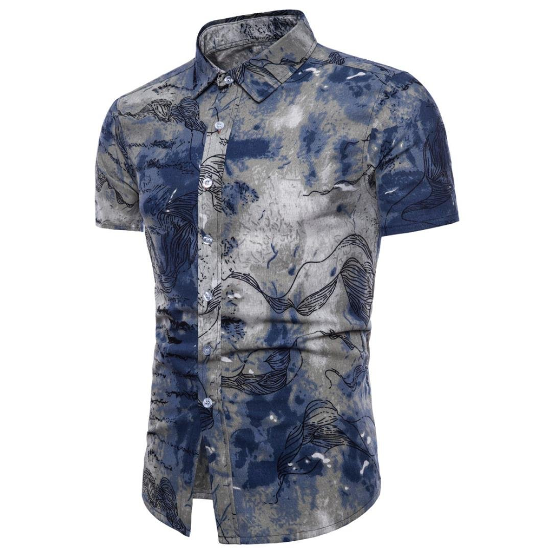Han Shi❤️ Bohe Floral Plus Size Blouse Men Summer Short Sleeve T Shirt Tank Top (Blue, 5XL)