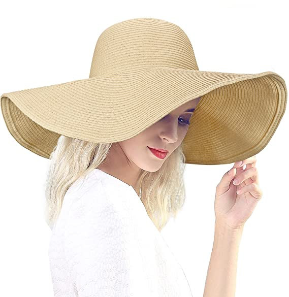 8137ac5e DAFUNNA Women's Ridge Wide Floppy Brim Sun Hat Beachwear Striped Straw Hat  Foldable and Packable
