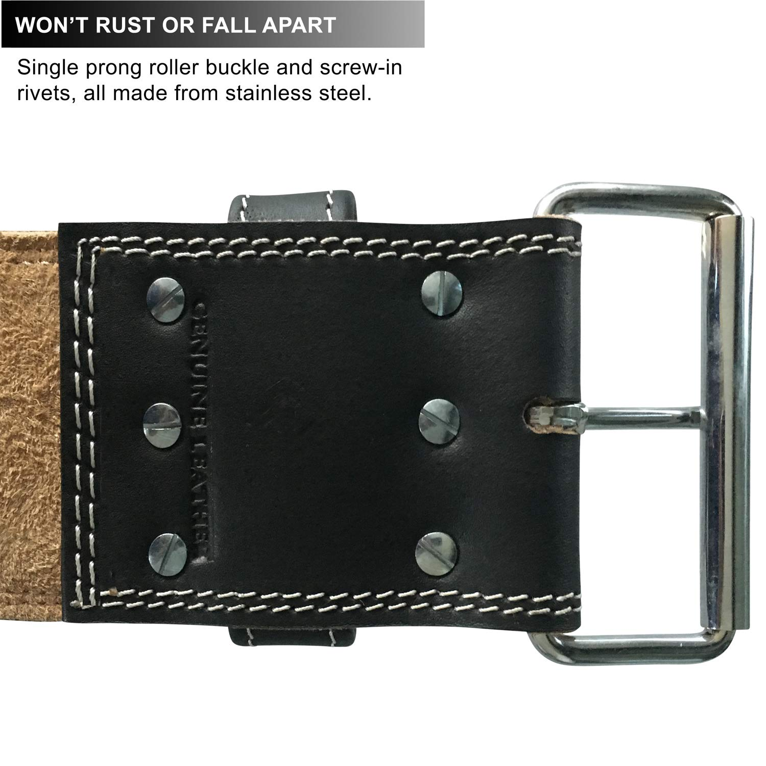 Steel Sweat Weight Lifting Belt - 4 Inches Wide by 10mm - Single Prong Powerlifting Belt That's Heavy Duty - Genuine Cowhide Leather - X-Large Texus by Steel Sweat (Image #9)