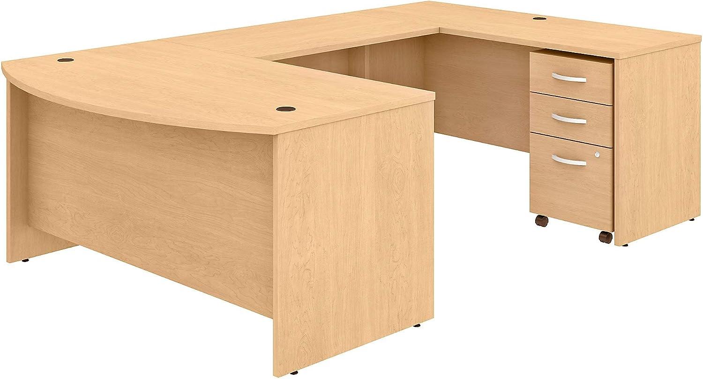 Bush Business Furniture Studio C U Shaped Desk with Mobile File Cabinet, 60W x 36D, Natural Maple