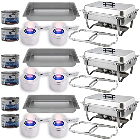 Chafing Dish Buffet Set w/Fuel — Folding Frame + Water Pan + Food Pan (8 qt) + 6 Fuel Holders + 6 Fuel Cans – 3 Full Warmer Kit, Stainless Steel ...