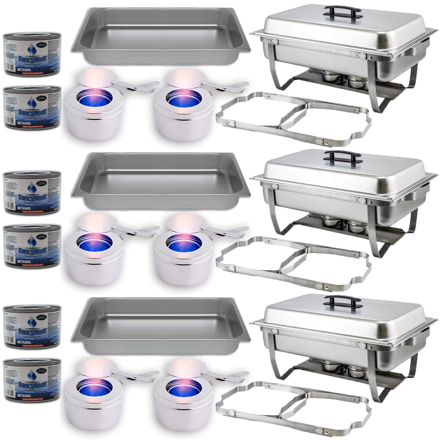 Chafing Dish Buffet Set w/Fuel - Folding Frame + Water Pan + Food Pan (8 qt) + 6 Fuel Holders + 6 Fuel Cans - 3 Full Warmer Kit, Stainless Steel Construction