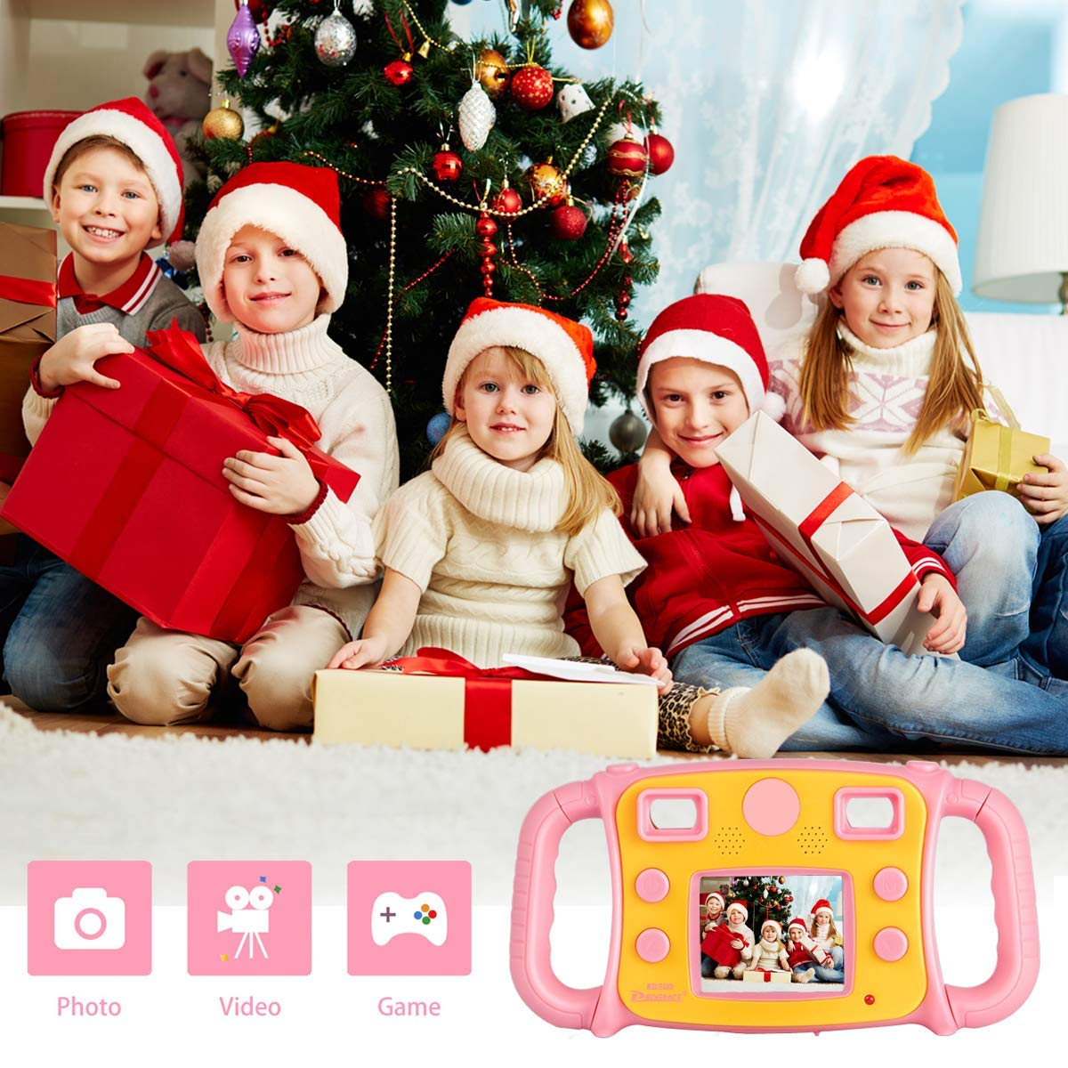 Prograce Kids Camera Creative Camera 1080P HD Video Recorder Digital Action Camera Camcorder for Boys Girls Gifts 2.0'' LCD Screen with 4X Digital Zoom and Funny Game(Pink) by Prograce (Image #8)