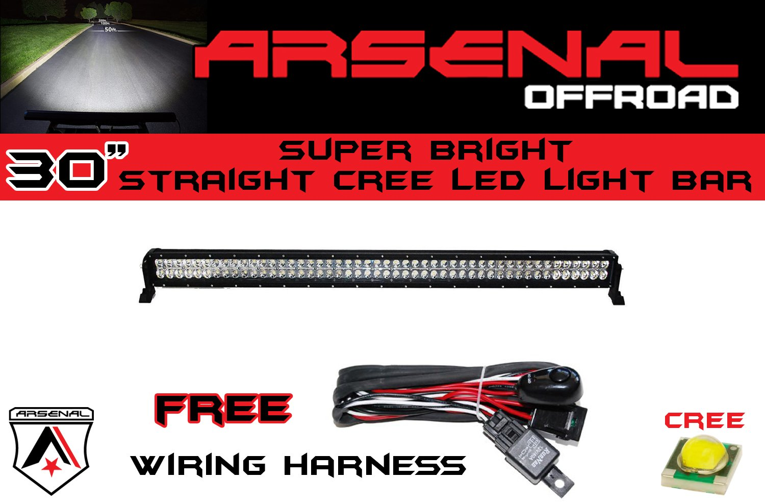1 30 Arsenal Offroad Cree Led Light Bar Of Leds Do I Need A Wiring Harness For My Free Download Flood Spot Combo Beam 3w 180w 11250 Lumen Off Road Polaris Rzr Utv Trucks Raptor Jeep Bumper Rock Wire
