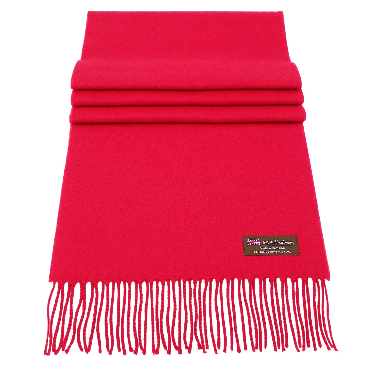 Rosemarie Collections 100% Cashmere Winter Scarf Made In Scotland (Red)