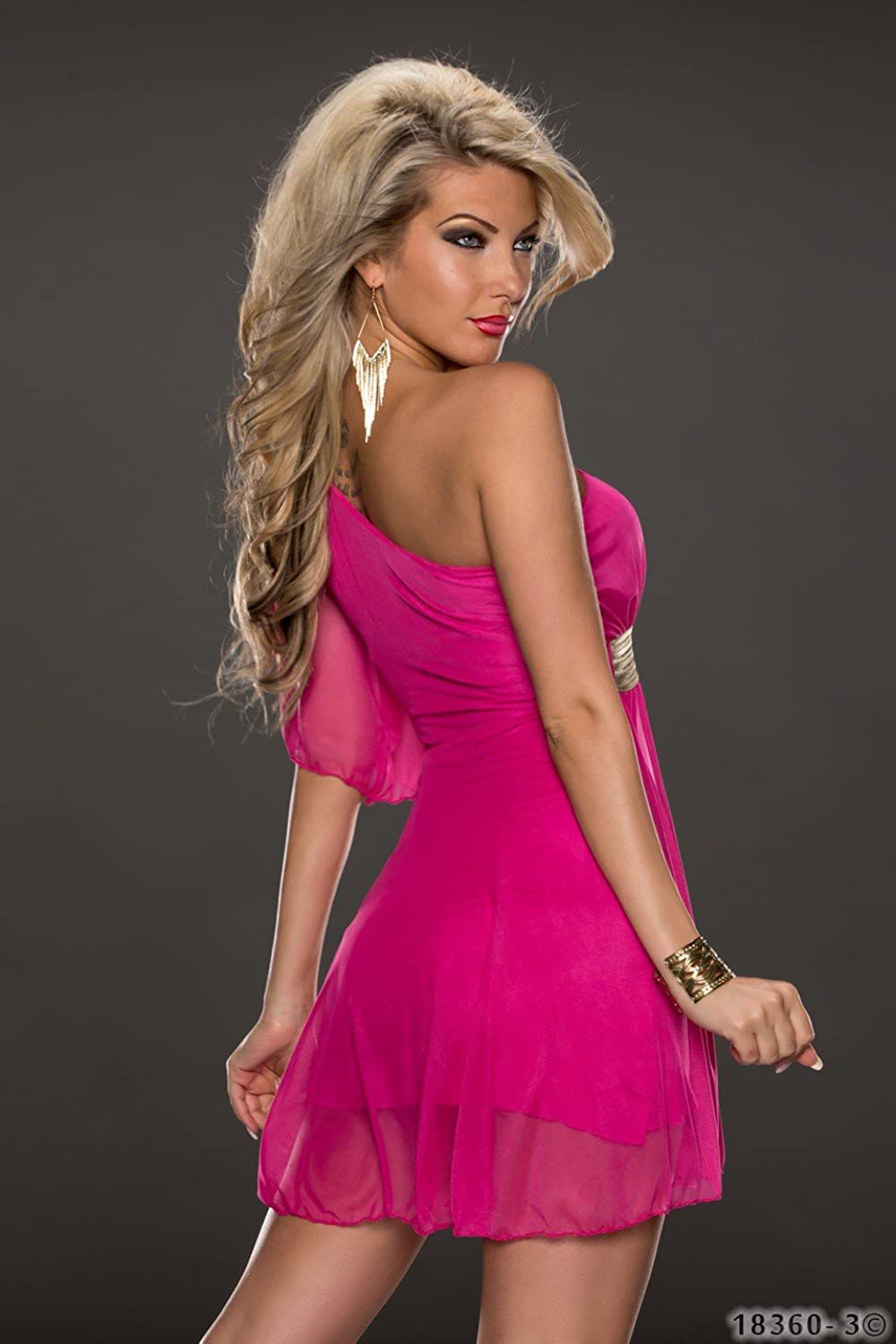 4631 FASHION4Young Women's Tailored One Shoulder dress Party Mini dress Available in 5 Colours Size 34 / 36