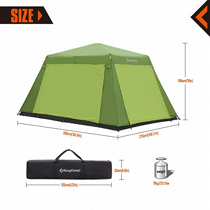 f4821c62d9 Amazon.com : KingCamp CAMP KING 8-person 2-room Instant Camp Cabin Tent,  13' × 9', with Full Cover Rain Fly : Sports & Outdoors