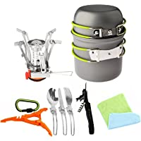 Bisgear 12pcs Camping Cookware Stove Canister Stand Tripod Folding Spork Wine Opener Carabiner Set Outdoor Camping…