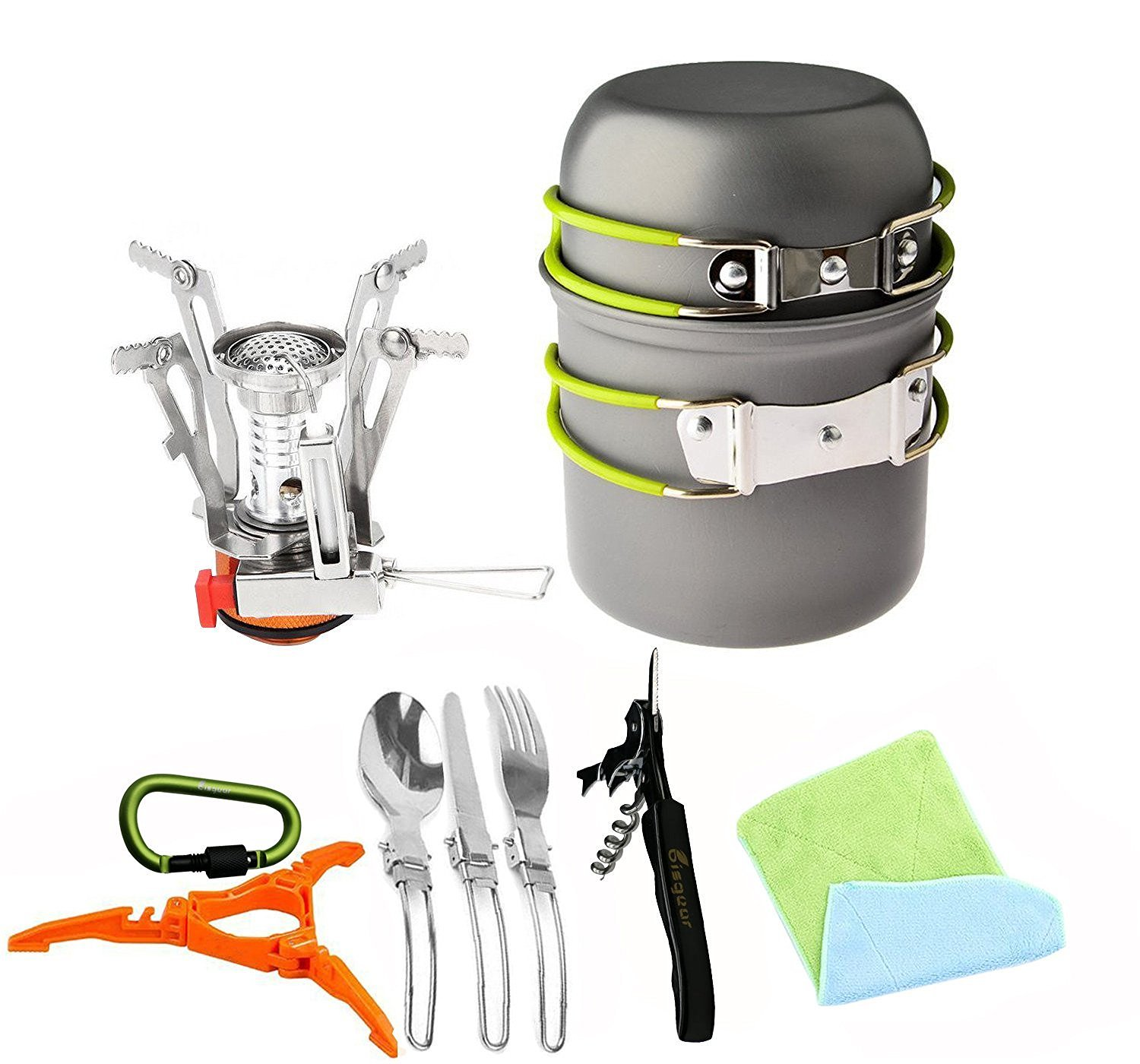 Amazon 12pcs Camping Cookware Stove Canister Stand Tripod