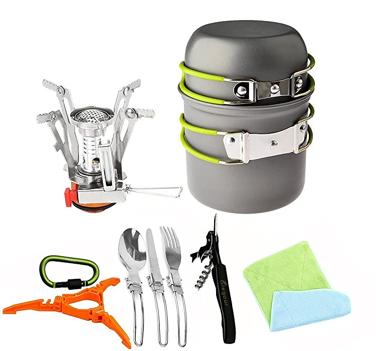 Bisgear 12pcs Camping Cookware Stove Canister Stand Tripod Folding Spork Wine Opener Carabiner Set