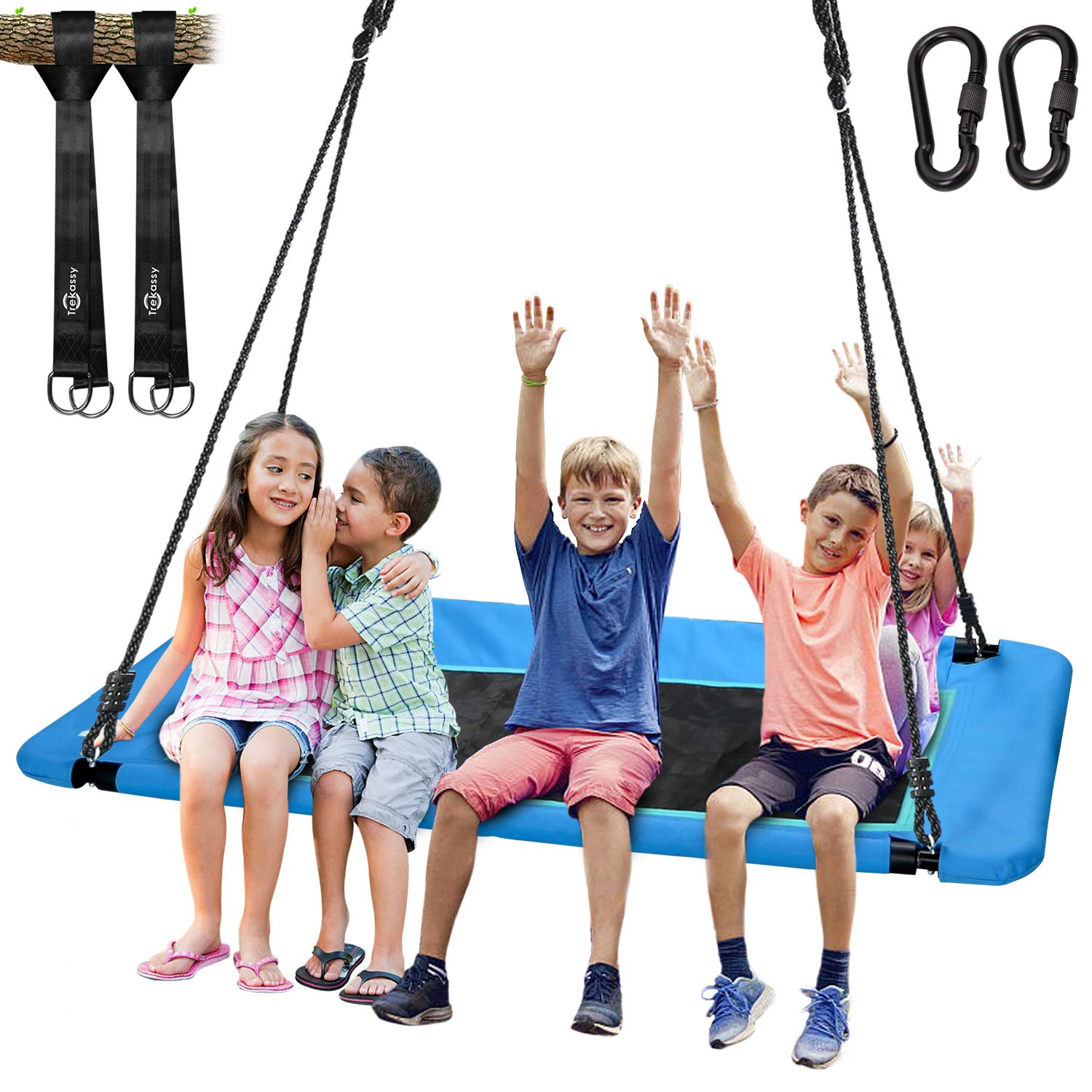 Trekassy 660lb Giant 60'' Platform Tree Swing for Kids and Adults Waterproof with Durable Steel Frame and 2 Hanging Straps by Trekassy