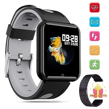 Reloj Inteligente Bluetooth Smartwatch – Pulsera Actividad Inteligente para Deporte con Monitor de Pulso Cardiaco de Llamadas Notificación de SMS para ...