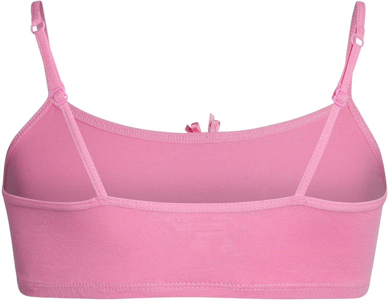 Rene Rofe Girls Cotton Spandex Cami Crop Training Bra with Adjustable Straps 5 Pack