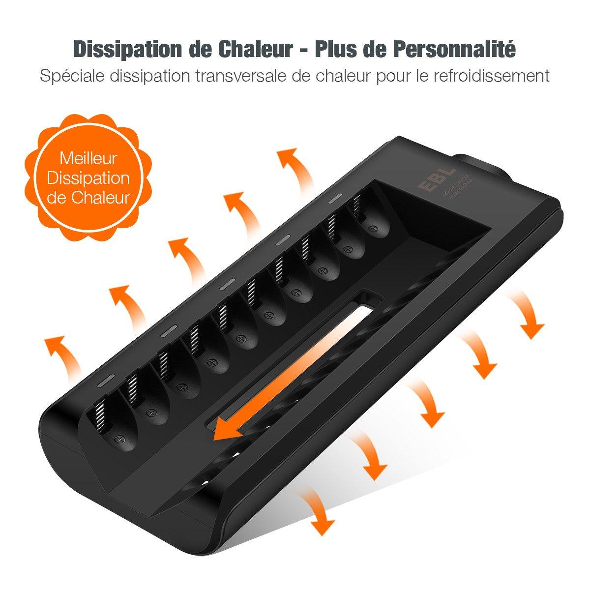 EBL 10 Ranuras Cargador de Pilas Alcalinas con AA AAA Pilas Alcalinas, Color Negro (Solo Baterías Alcalinas)