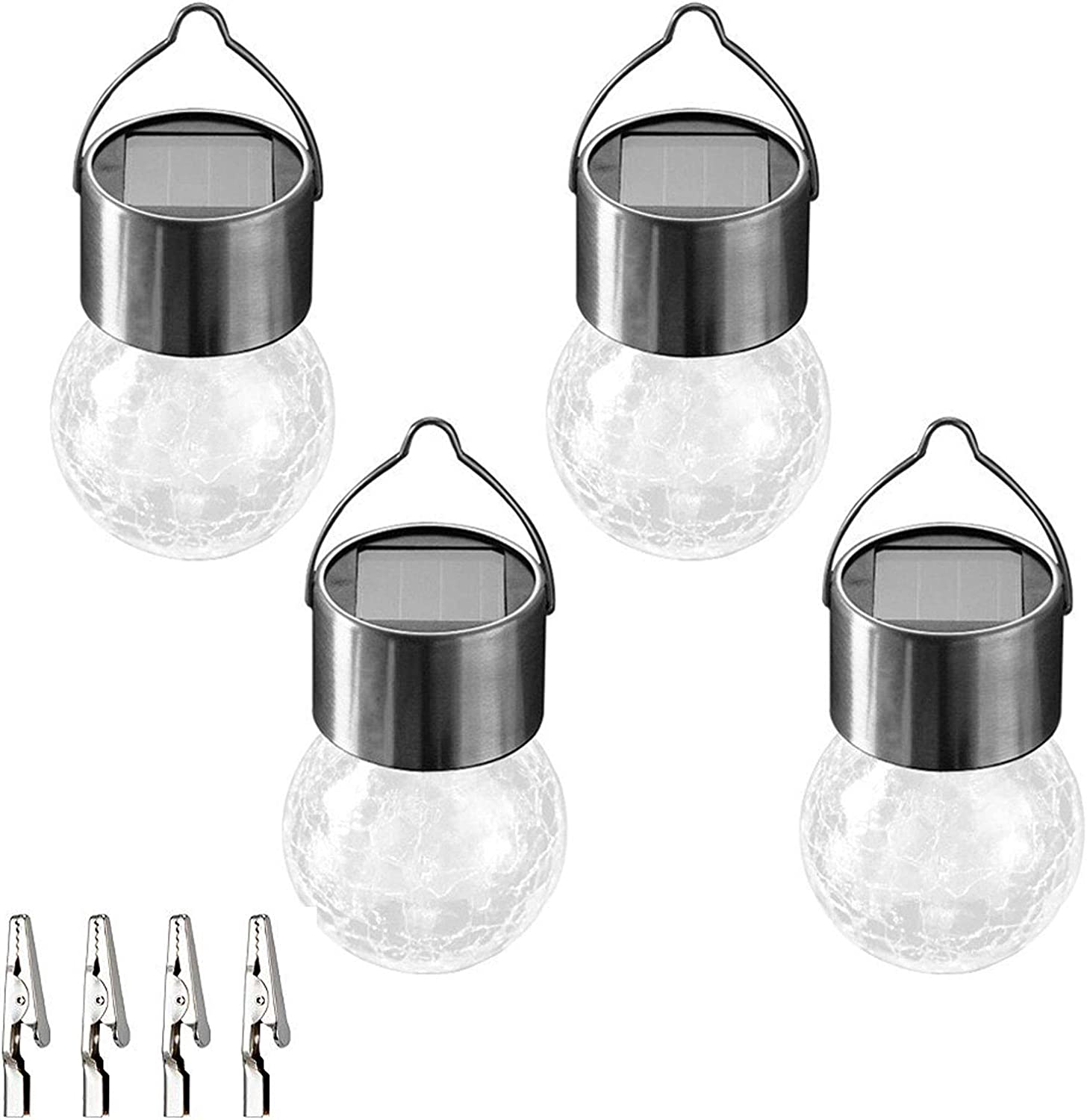 SunnyPark 4 Pack Hanging Solar Lights Outdoor, Decorative Cracked Glass Ball Lights Waterproof Solar Lanterns with Handle and Clip for Umbrella, Garden Yard, Patio, Fence, Tree, Christmas Decorations