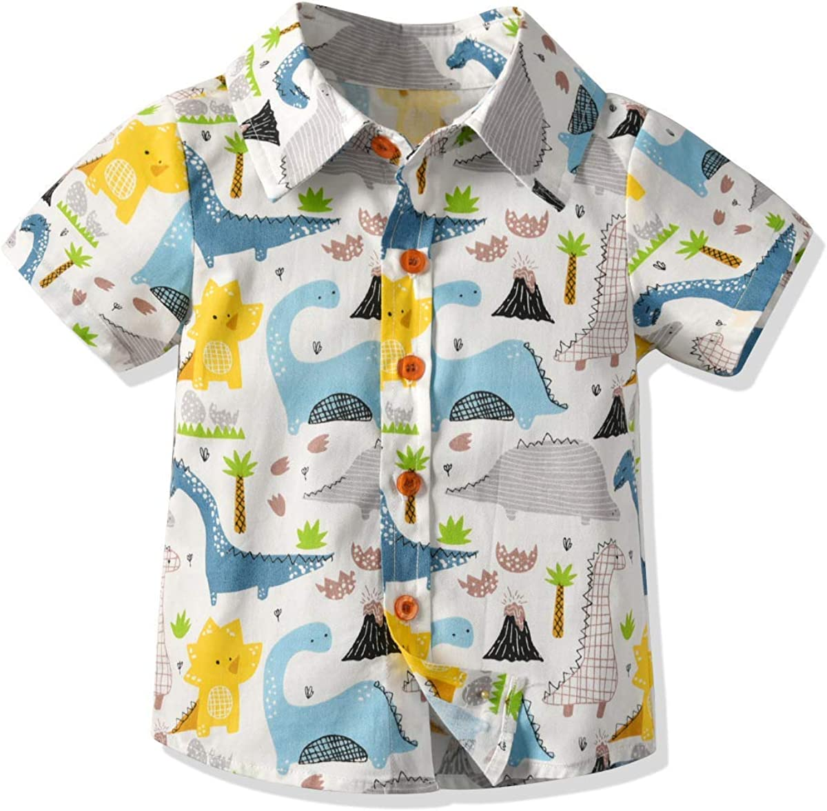 Toddler Baby Boy Flamingo Short Sleeve Button Down Shirt /& Casual Shorts Set Summer Outfits 1-6 Years Clothes